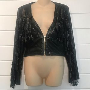 Faux leather fringe skull jacket
